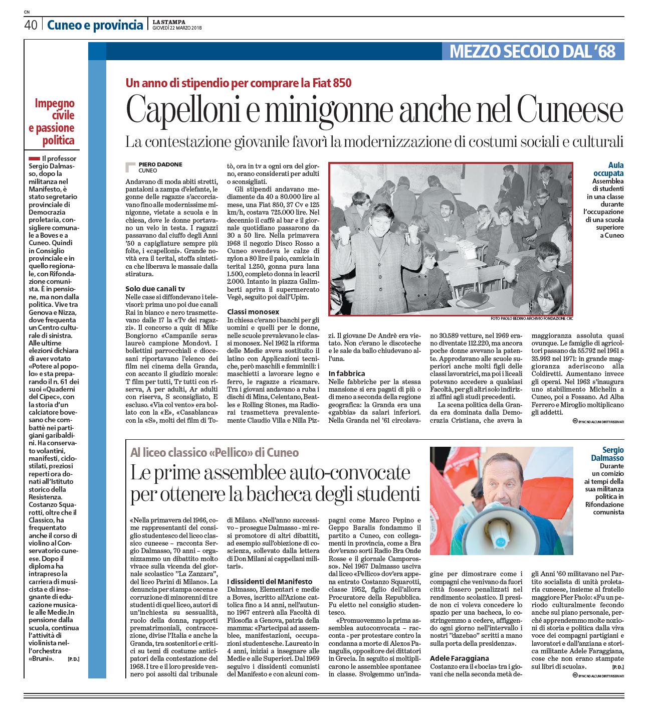 Tre articoli de La Stampa riguardanti le lotte sessantottine di Sergio Dalmasso
