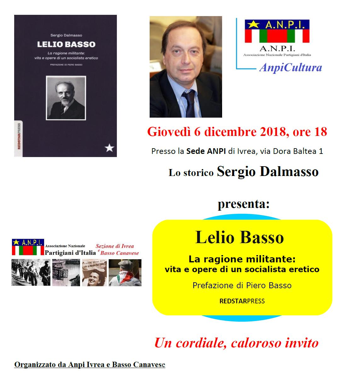 Locandina di presentazione del libro su Lelio Basso di Sergio Dalmasso a Ivrea