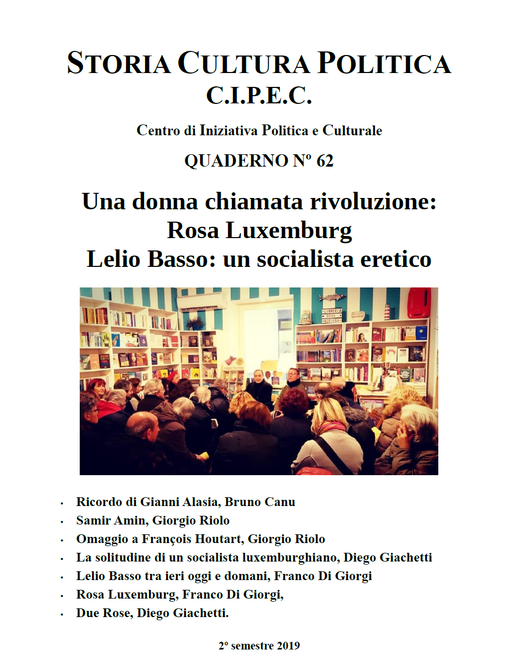 Copertina del quaderno CIPEC Numero 62