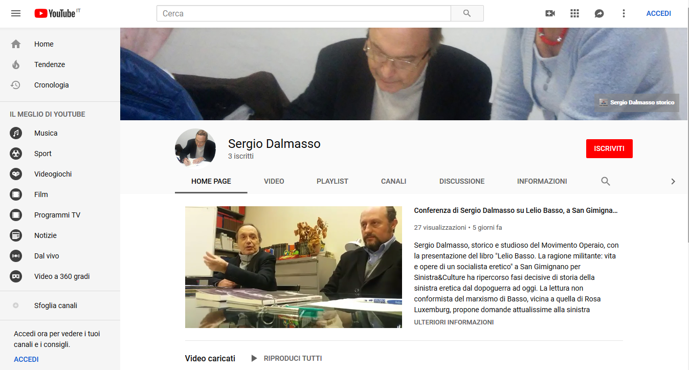 Canale YouTube Sergio Dalmasso