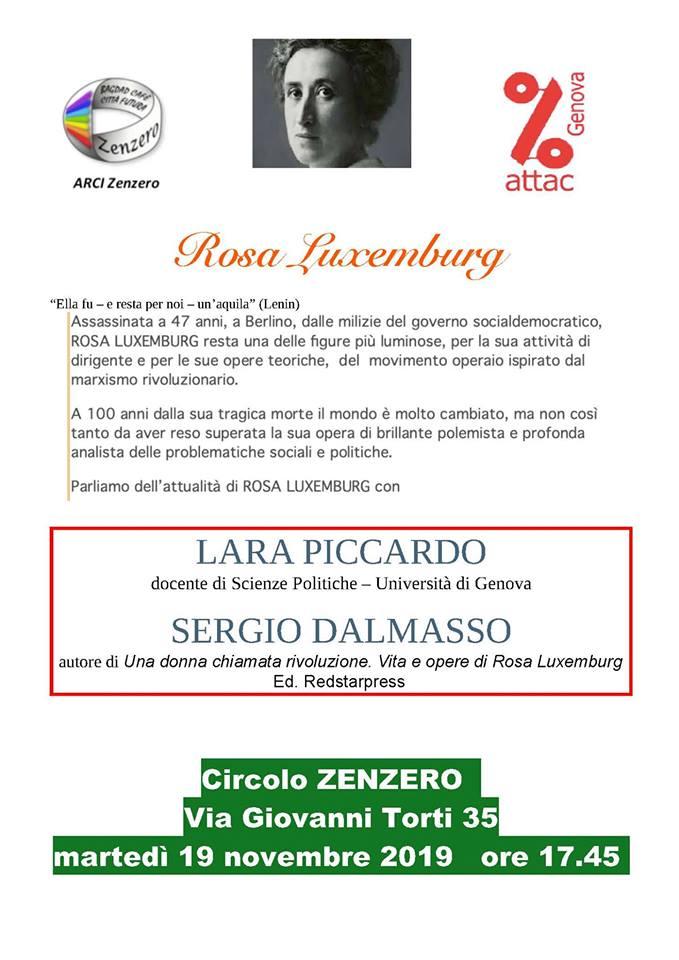 Rosa Luxembug. Lara Piccardo e Sergio Dalmasso a Genova
